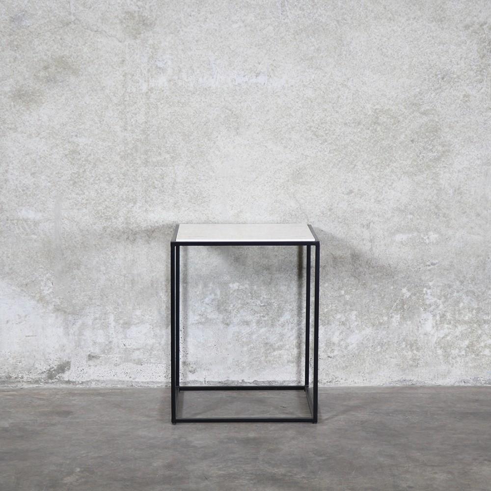 Side table (black + marble)