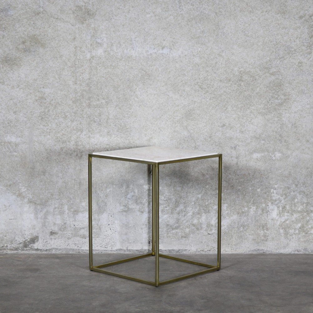 Side table (gold + marble)