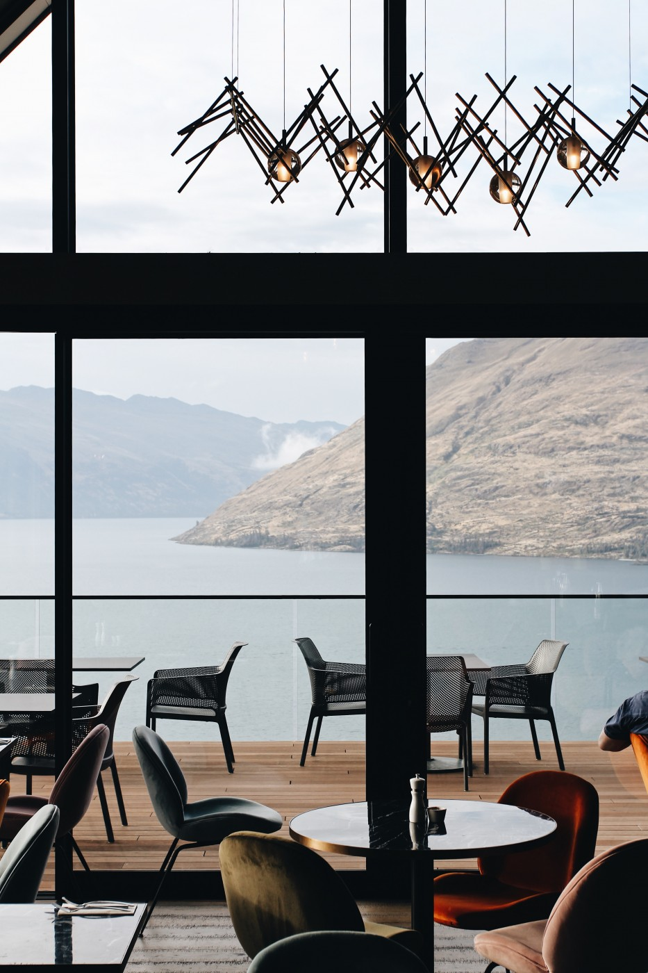 Image of the beautiful dining area overlooking the lake view at Kāmana Lakehouse.